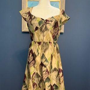 Anthropologie Fall silk dress sz 2 *like new